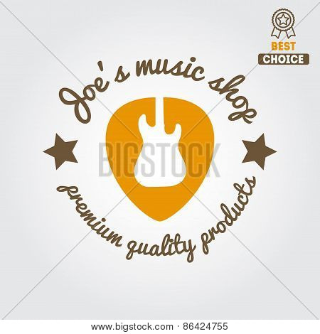 Vintage logo, badge, emblem or logotype elements for music shop, guitar shop
