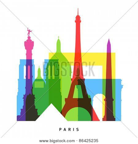 Paris landmarks bright collage vector illustration
