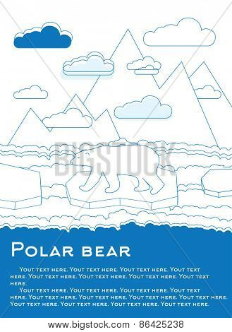 Polar bear on an ice floe in ocean Possible result of global warming Vector illustration for magazines or newspapers