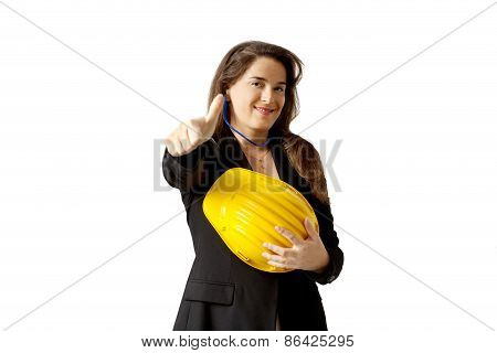Satisfied Female  Yard Foreman With Safety Helmet Over White Background