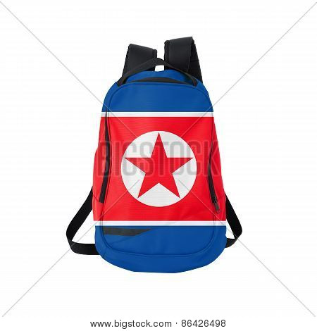 North Korea Flag Backpack Isolated On White