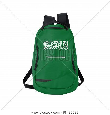 Saudi Arabia Flag Backpack Isolated On White