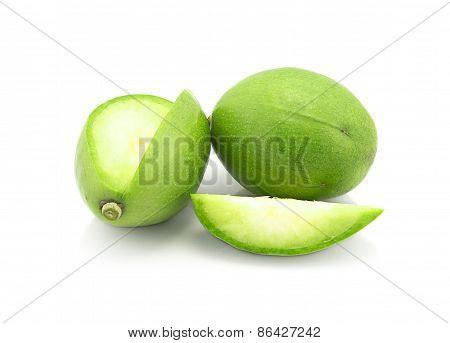 Spondias Mombin On White Background, Fruit Macro