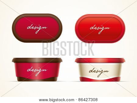 Plastic container mock up for butter, margarine spread, cheese, hazelnut cream, or yoghurt. Layered separately  vector file.  Just 2 global colors used for container. Easy editable. No mesh.