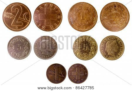 Different Old Swiss Coins