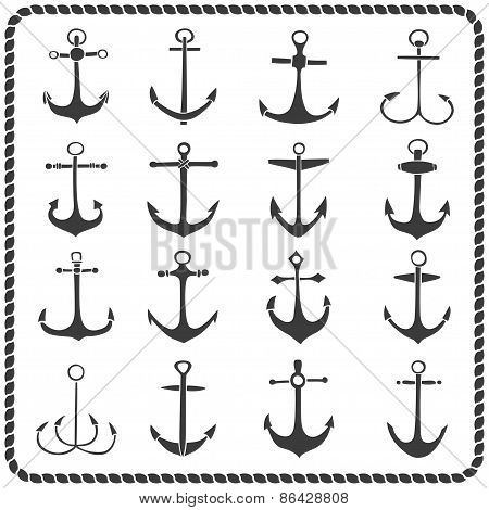 Set of sixteen hand drawn anchors