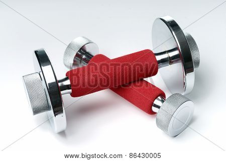 Hand Barbells On White Background