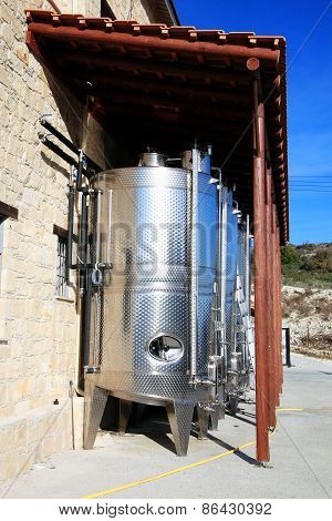 Modern stainless steel wine vats