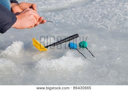 Winter fishing. Ice fishing