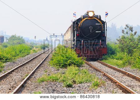Thailand Locomotive Trains Running On Rialroad Track Use For Vintage Land Transportation Topic
