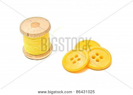 Wooden Spool Of Thread And Buttons