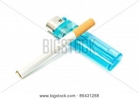 Cigarette And Plastic Lighter