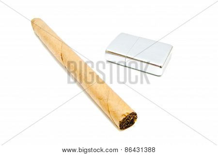 Cigar And Metal Lighter On White