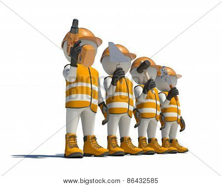Workteam in special clothes, shoes and helmet holding tools
