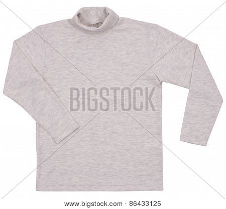 Gray Child Turtleneck. Isolated On A White Background.