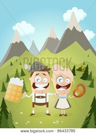 funny Bavarian couple with beer and pretzel