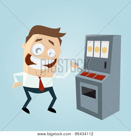 funny cartoon man is playing slot machine