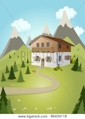 idyllic cartoon house with mountains in background