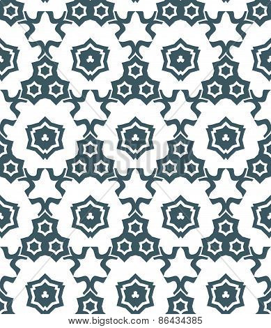 Psychedelic Abstract Stars Monochrome Seamless Pattern.