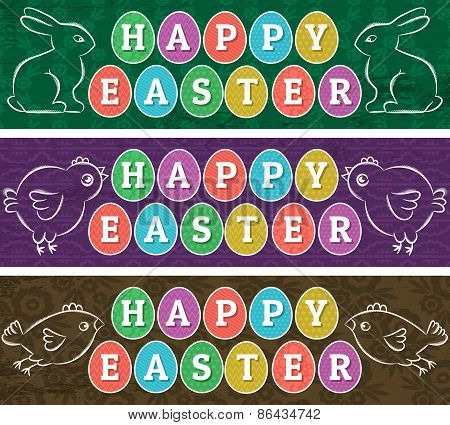 Greetings Web Banners For Easter Day With Frame Of Easter Elements, Rabbit And Chicken.