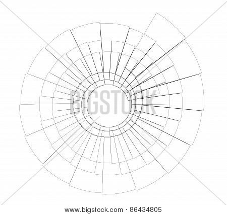 Wire-frame spiral stairs. Top view. Isolated