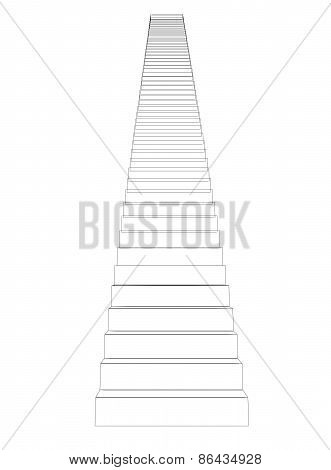 Wire-frame stairs. Front view. Isolated