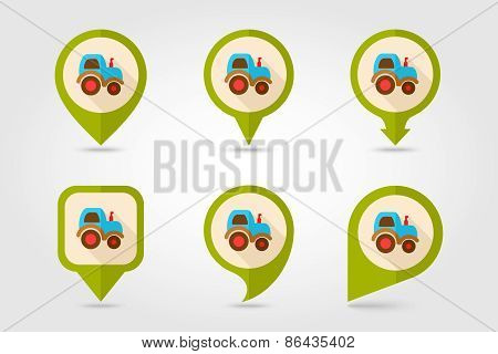 Tractor Flat Mapping Pin Icon With Long Shadow