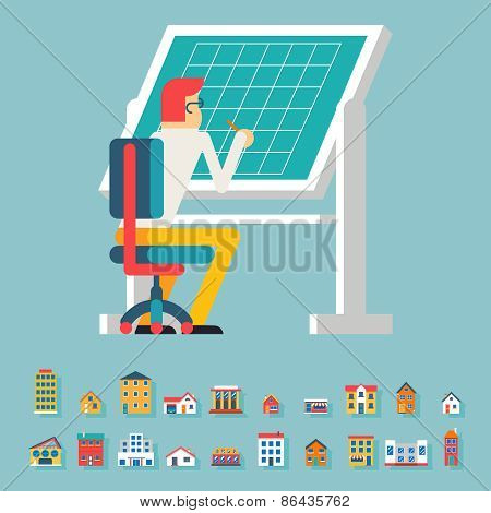 Engineer Planner Projector Designer Working at Table Icon Architecture Drawing Symbol Flat Design Ve