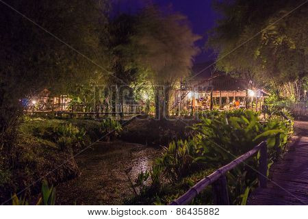 Bamboo Bridge A Foot Path Of Resort At Night