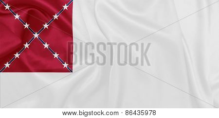 American Civil War The second national flag of the Confederate States of America with silk texture