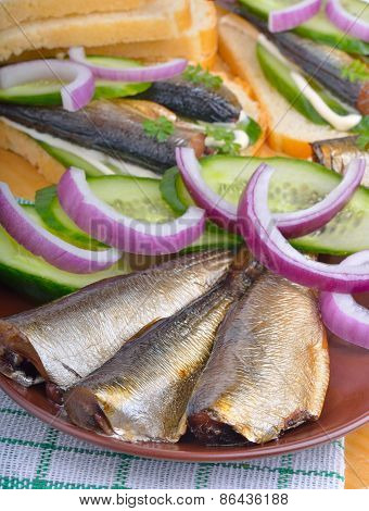 Sprats With Green Cucumber And Onion