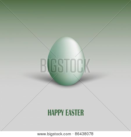 Easter Card With Green Egg And Shadows