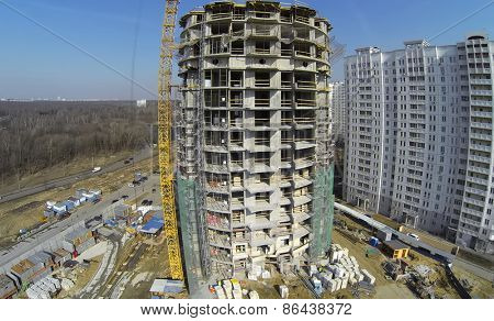 MOSCOW, RUSSIA - MAR 25, 2014: Aerial view of construction site Bogorodskoe with cranes.