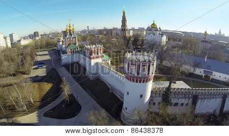 MOSCOW, RUSSIA - MAR 23, 2014: Aerial view of the Novodevichy Convent with parking.