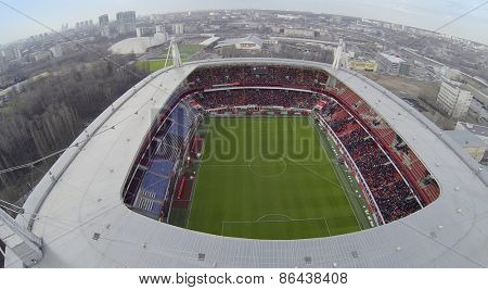 MOSCOW, RUSSIA - MAR 30, 2014: Field in Locomotive sports arena. Aerial view.