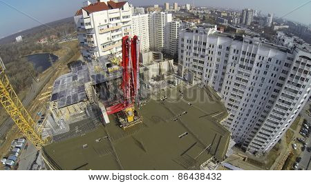 MOSCOW, RUSSIA - MAR 25, 2014: Construction site of Bogorodskoe at sunny spring day. Aerial view.