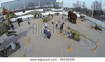 MOSCOW, RUSSIA - MAR 23, 2014: Aerial view of big realistic models of dinosaurs at the exhibition.