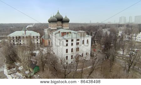 MOSCOW, RUSSIA - MAR 02, 2014: Aerial view of the church of the Protection of the Holy Mary.