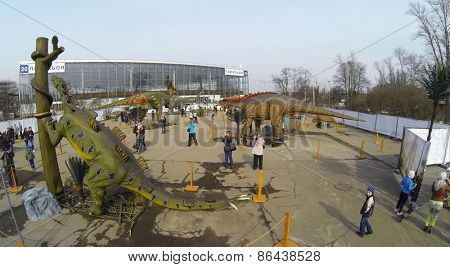 MOSCOW, RUSSIA - MAR 23, 2014: Aerial view of big realistic models of dinosaur at the exhibition.
