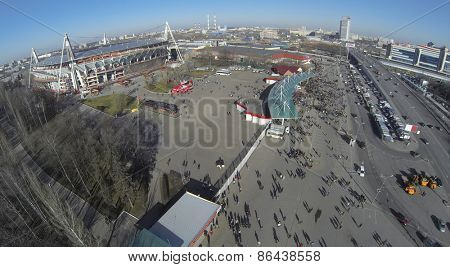 MOSCOW, RUSSIA - MAR 10, 2014: Aerial view of Locomotive sports stadium.
