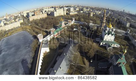 MOSCOW, RUSSIA - MAR 23, 2014: Aerial view of the area Novodevichy Convent in the spring.