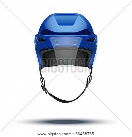Classic blue Ice Hockey Helmet with glass visor isolated on Background