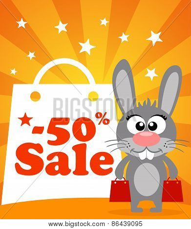 Sale Poster With Rabbit