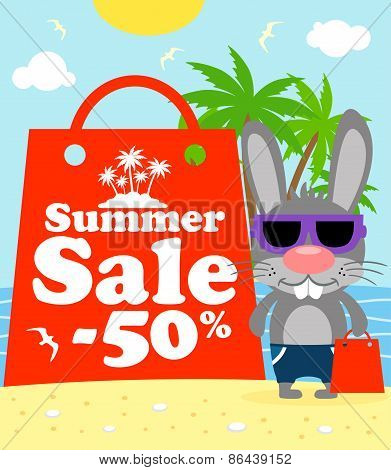 Summer Sale Poster With Bunny