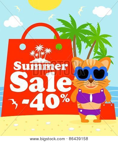 Summer sale poster with cat