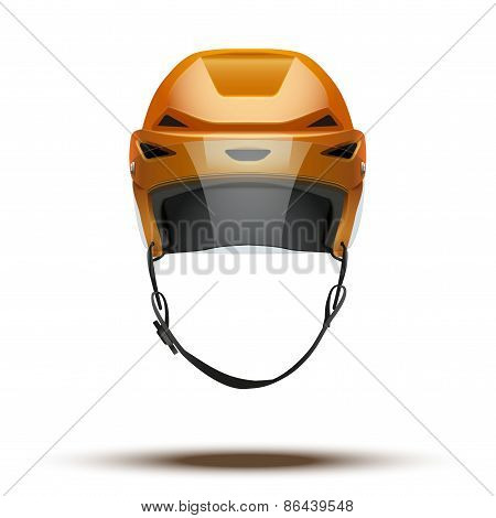 Classic orange Ice Hockey Helmet with glass visor isolated on Background