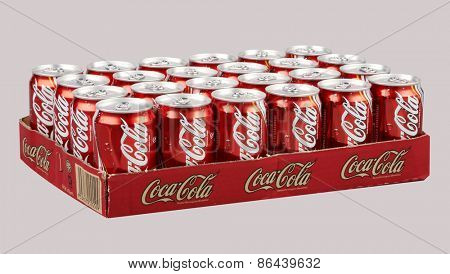 Kuala Lumpur,Malaysia 26th, 2014 Editorial photo of Classic Coca-Cola can on White Background. Coca-Cola Company is the most popular market leader in malaysia