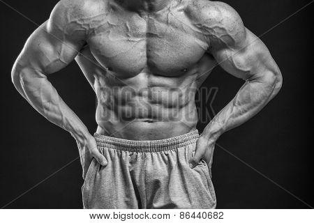 Young slim bodybuilder.