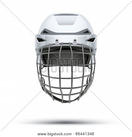 Classic white Goalkeeper Hockey Helmet isolated on Background.