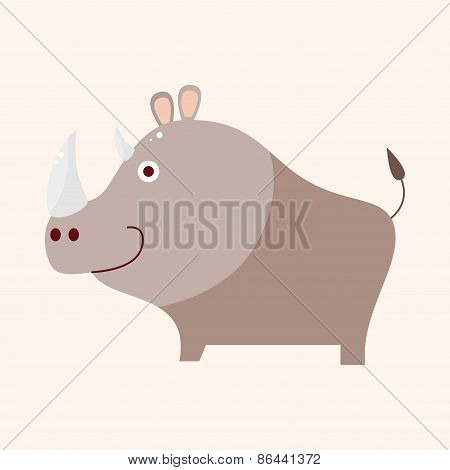 Animal Rhino Cartoon Theme Elements